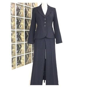 Ann Taylor Black Pinstripe Suit